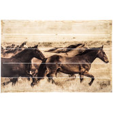 Horses Wood Plank Wall Decor